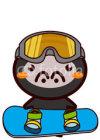 Skiing, snowboarding Animal Series スキー、スノーボードの動物シリーズ3