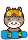Skiing, snowboarding Animal Series スキー、スノーボードの動物シリーズ1